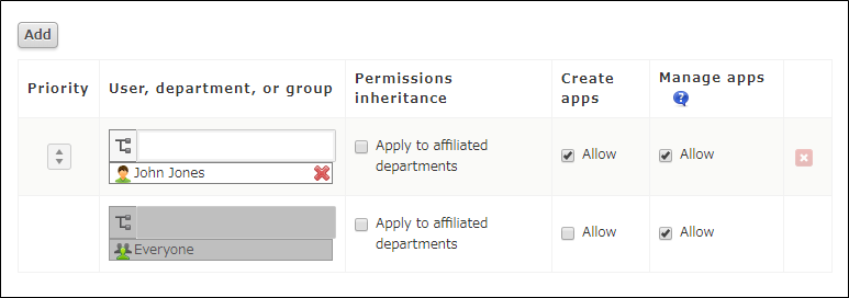 Screen for configuring app group permissions