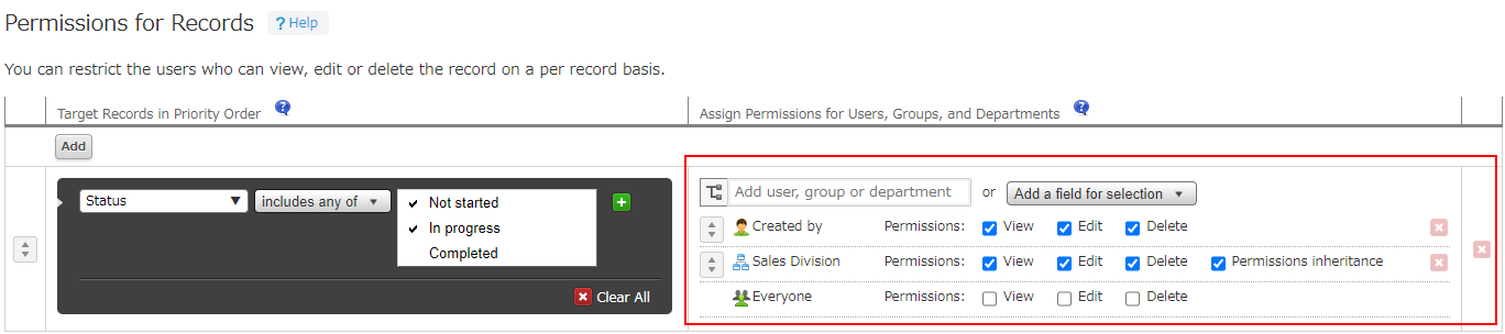 Set permissions for users, departments, or groups