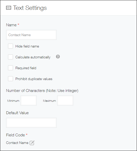 Settings page for Text