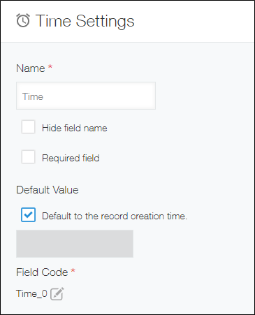 Settings screen for Time field